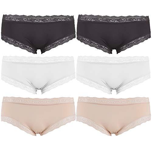 Libella Pack de 6 Mujer Bragas Culottes Shorts con Encaje Sedoso Gris Beige Blanco 3416...