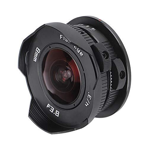 Pusokei 180 ° Weitwinkel-Fisheye-Objektiv, Objektiv mit manuellem Fokus, 8 mm F3.8 Fisheye-Objektiv, Fisheye-Objektiv für spiegellose Olympus M4/3-Kamera , Fisheye-Objektiv