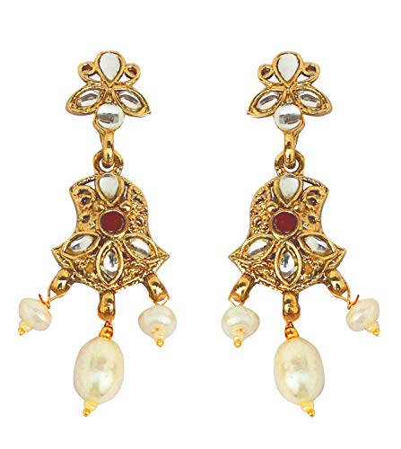 Touchstone Indian bollywood Kundan look red long chandelier jewelry earrings in antique gold tone for women