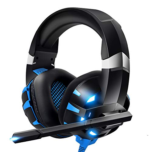 RUNMUS Gaming Headset Xbox One Headset with 7.1 Surround Sound, PS4 Headset with Noise Canceling Mic & LED Light, Compatible with Xbox One, PS4, PS5, PC, Switch, Laptop, Memory Foam Ear Pads