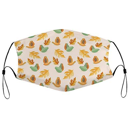 Dkisee Fashion Unisex Staubmaske mit Filterelement, verstellbare Ohrschlaufen, Gesichtsmaske für den Außenbereich (Papaya-Muster)
