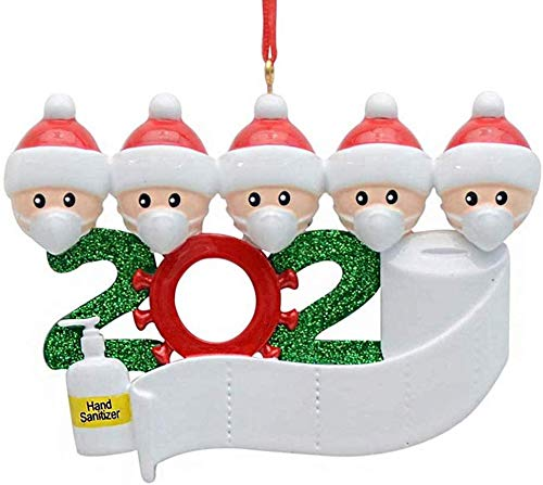 HomeSweety Christmas Ornament, Personalized 2020 Covid Survivor Quarantine DIY Customized Family Name, Santas with Face Mask Toilet Paper Hand Sanitizer (Family of 5)