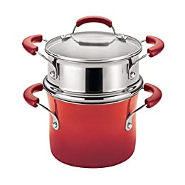 Set includes: 3-Quart Covered Saucepot and Steamer Insert Durable pan construction promotes even heating, helping to reduce hot spots; sturdy porcelain enamel exterior is bold and colorful Long-lasting nonstick pan interior provides easy food release...