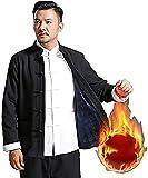 FETTR Classictai Chi 3 Piezas Uniforme Manga Larga Algodón Y Lino Hombres Chino Tradicional Artes Marciales Ropa Taekwondo Ejercicio Kung Fu Entrenamiento Color Negro Más Terciopelo