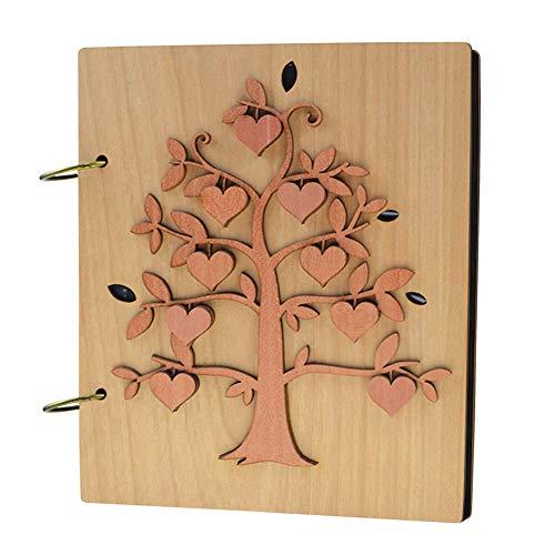Giftgarden Album Photo 10x15 con 120 Tasche in Pagine Nere - Albero Genealogico Album con Legno Design