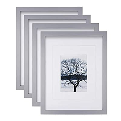 Egofine 11x14 Picture Frames, 4 Pack Display Pictures 5x7/8x10 with Mat or 11x14 Without Mat Made of Solid Wood for Table Top Display and Wall Mounting Photo Frame, Light Gray