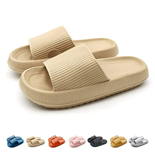Shower Shoes for Womens - Soft Sole Slippers Quick Drying Bathroom Pillow Slide Extra Thick Non-Slip Massage Beach Pool Gym House Slide for Indoor & Outdoor Khaki