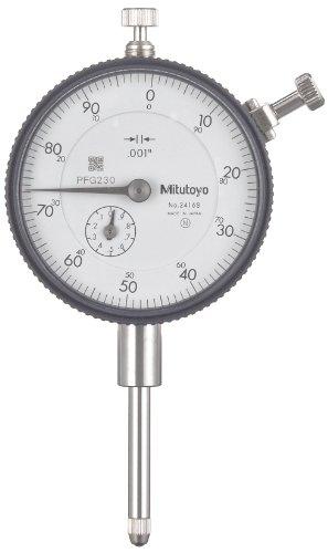 Mitutoyo'2416S' Dial Indicator, 4-48 UNF Thread, 0.375' Stem Dia,'Lug Back,' White Dial, 0-100 Reading, 2.244' Dial Dia, 0-1' Range, 0.001' Graduation, -0.002' Accuracy