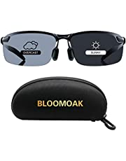 Bloomoak Photochromic Driving Glasses - Photochromism & Polarization | Adjustable Nose Pieces | Non-Slip Temple - For Sunny & Cloudy Day Driving | Fishing | Golf | Reduce Glare | UV400 Eyes Protection
