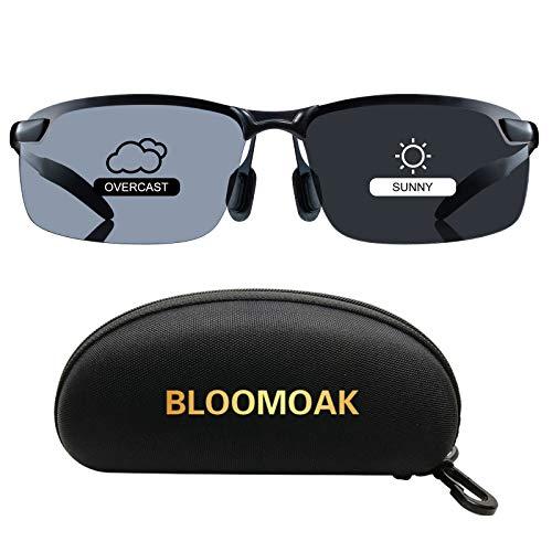 Bloomoak Sonnenbrille Fahren | Photochrome Polarisierte Sonnenbrille | Blendschutz Sonnenbrille Fahren | HD Halbrand | Polarisiert | Ultra Light Metall | Sonnenbrille Damen Männer (Sonnenbrille)