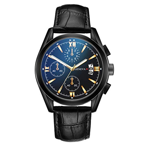 Bokeley Men Watches, Wristwatches, Mens Fashion Luxury Faux Leather Stainless Steel Dial Analog Watch (J)