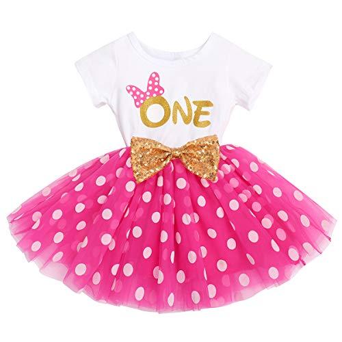 FYMNSI Vestido de manga corta para bebé, niña, de algodón, tutú de tul, línea A, vestido de princesa, vestido de fiesta para sesión de fotos. Rose One (vestido solo) 12 meses