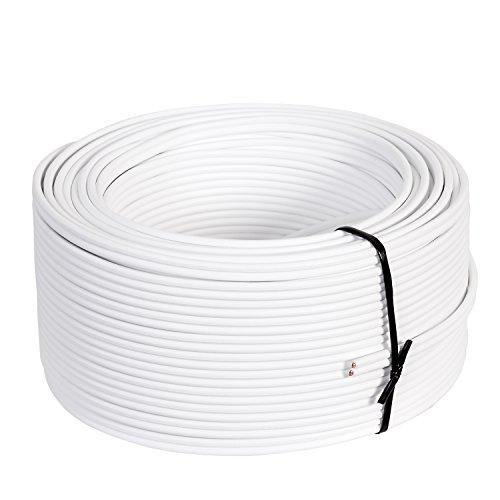 Misterhifi 50 m Lautsprecherkabel 2 x 2,5 mm², Litze: 2 x 78 x 0,2 mm, weiß isoliert, 99,99% OFC Kupferkabel, Made in Germany, Boxenkabel/Audiokabel für Lautsprecher und Heimkino