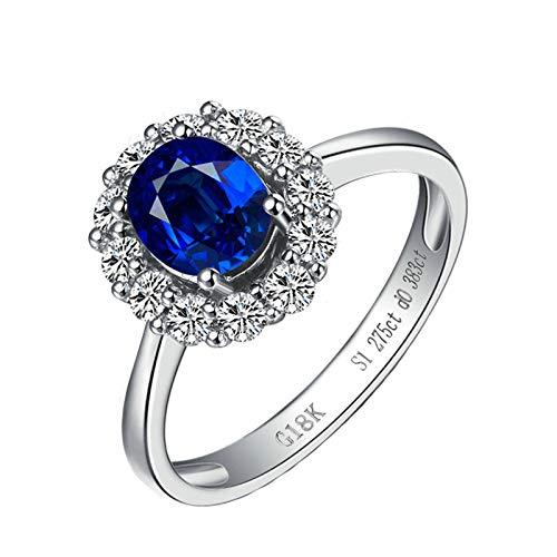 Bishilin Anillo de Mujer Anillo de Compromiso 750 Azul Zafiro Diamante Anillo de La Banda de Bodas de Compromiso de Aniversario Forma Ovalada Anillo de Compromiso Anillo de Aniversario Azul