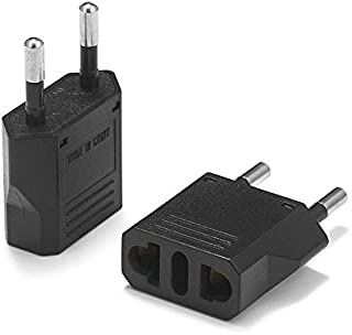 United States to Denmark Travel Power Adapter to Connect North American Electrical Plugs to Danish Outlets for Cell Phones, Tablets, e-Book Readers, and More (2-Pack, Black)
