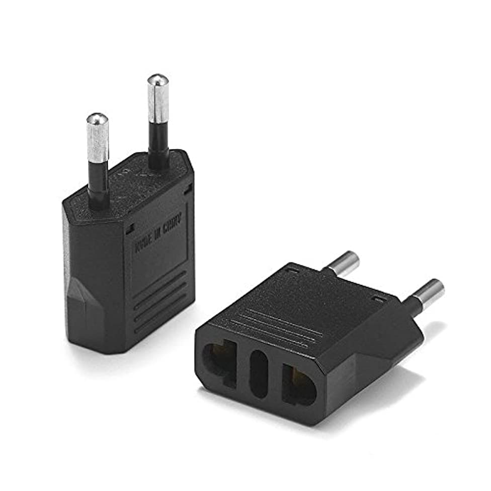 United States to Greece Travel Power Adapter to Connect North American Electrical Plugs to Greek Outlets for Cell Phones, Tablets, Laptops, e-Book Readers, and More (2-Pack, Black)