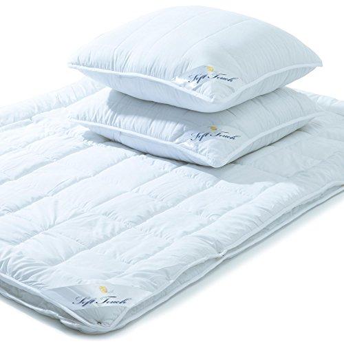 aqua-textil Soft Touch 2X Kopfkissen 80 x 80 cm Set inkl Bettdecke 4 Jahreszeiten 220 x 260 cm Winter Sommer Steppdecke