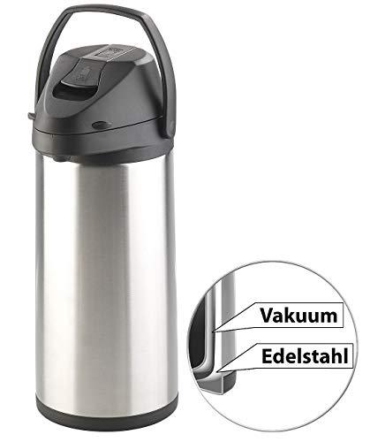 Rosenstein & Söhne Thermokannen: Doppelwandige Vakuum-Isolierkanne mit Pumpsystem, Edelstahl, 5 Liter (Iso-Pumpkanne)