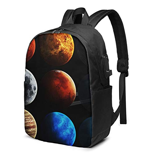 Laptop Backpack with USB Port Planet Solar System Space, Business Travel Bag, College School Computer Rucksack Bag for Men Women 17 Inch Laptop Notebook