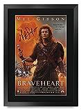 HWC Trading FR - Póster impreso de Braveheart de Mel Gibson Gifts con autógrafo firmado para los fans de la película - A3 enmarcado