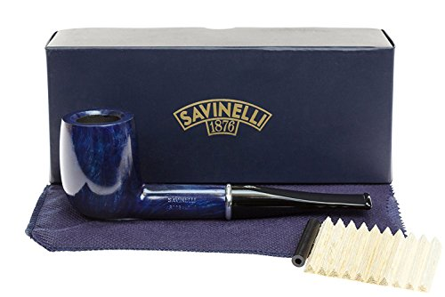Savinelli Italian Tobacco Smoking Pipes, Arcobaleno Smooth Blue 111