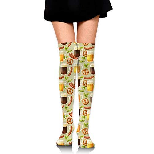 Hdadwy Salchicha Cerveza Coca Cola Mujer Señoras Mujer Chica Adolescente Chico Juventud Pierna Alto Medio muslo Rodilla alta Tubo largo Over The Knee Stocking Disfraz Regalos Ropa Vestidos Ropa Thy Th