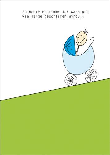 Lustige Gratulationskarte mit Kinderwagen und Spruch zur Geburt eines kleinen Jungens • fröhliche Grusskarte, Geschenk-karte zur Geburt um der jungen Familie zu gratulieren geschäftlich & privat