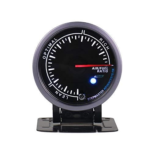 no-branded Kraftstoffanzeige 60MM Black Face-Luft-Kraftstoff-Verhältnis Spur Weiß/Gelb-Licht mit Peak-Funktion Narrowband-Luft-Kraftstoff-Verhältnis Meter CGFEUR