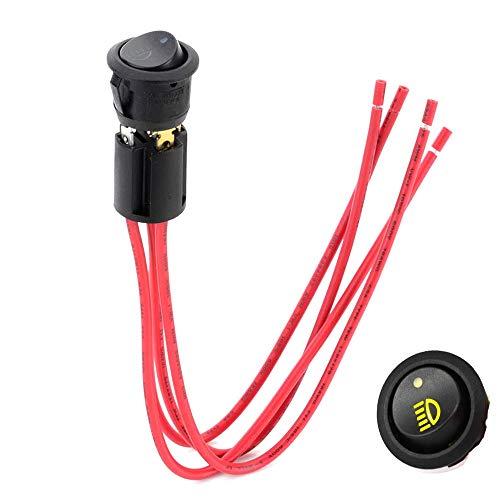 VISLONE 14VCD 20A Luz antiniebla Pulsador Swtich ON-Off Interruptores basculantes Indicador LED Rojo y Amarillo con Enchufe de Cable