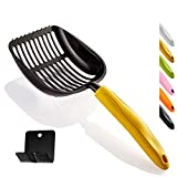 WePet Cat Litter Scoop, Aluminum Alloy Litter Scooper, Long Handle Cat Scooper with Holder, Poop Sifting, Pooper Lifter, Kitty Pet Sifter, Durable, Heavy Duty, Full Metal Litterbox Scoops Yellow
