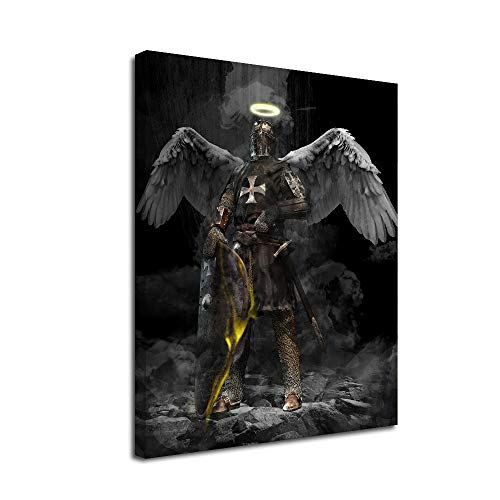 Medieval Shield Canvas Wall Art-Inner Framed Oil Paintings Printed on Canvas Modern Artwork for Home Decorations and Easy to Hang for Living Room Bedroom-Crusader Angel in Armor in The Dark,Wall Art