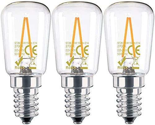 CAMORF E14 Lampadina LED Cappa Cucina CRI 85+ Filamento Tubolare ST26 SES,Senza Sfarfallio 2700K Bianco Caldo 1.5W (equivalente a 15W) Lampadine LED per Frigorifero Cappa da Cucina Confezione da 3