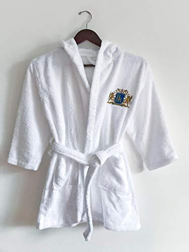 Baroque Royal Hooded Bathrobe for Kids, Hood Towel Robe for Boys and Girls Age 9-12, Hoodie Bath Robe for Shower, Pool, Lounge, Absorbent Egyptian Cotton Terry and Soft Velour, Best Gift Idea, White