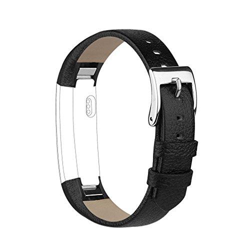 Tobfit Bracelets Compatible avec Fitbit Alta de Replacement Cuir Bracelets Fitbit Alta HR Bracelet Réglable élégant et Classique Bande pour Fitbit Alta et Fitbit Alta HR (Noir)
