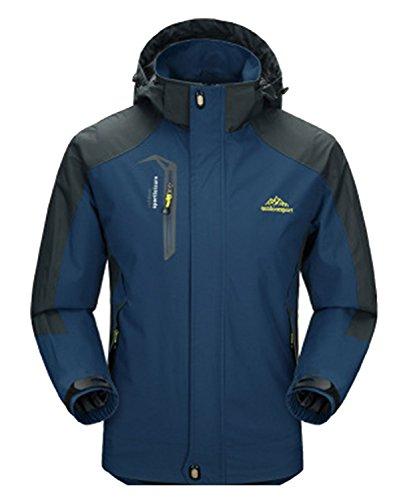 DEMO Waterdichte regenjas mannen vrouwen softshell sport outdoor jassen mantel paar bovenkleding ademend met capuchon camping wandelen jas mantel (jeansblauw-heren, 2XL)