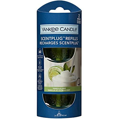 Yankee Candle ricariche fragranza ScentPlug | Olio per profumatore d'ambiente elettrico Calce alla vaniglia |Durata della fragranza: fino a 60 giorni | 2 pezzi