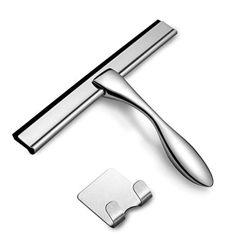 All-Purpose Shower Squeegee, Stainless Steel Shower Squeegee for Glass Doors, Bathroom Squeegee for Shower Glass Door with Ergonomic Non-Slip Handle, No Streak or Squeak Shower Door Squeegee