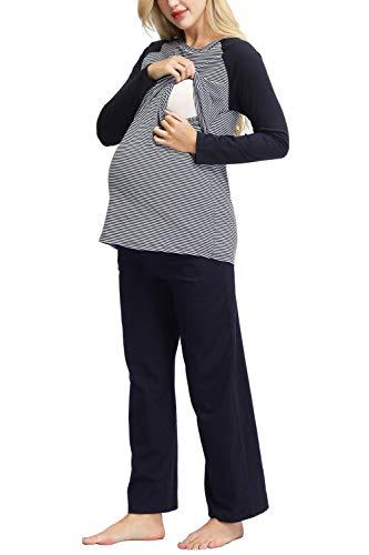 Still Schlafanzug Damen Umstandsschlafanzug für Schwangere Zweiteilig Hausanzug Pyjamas mit Schlafanzughose Lang Blau XXL
