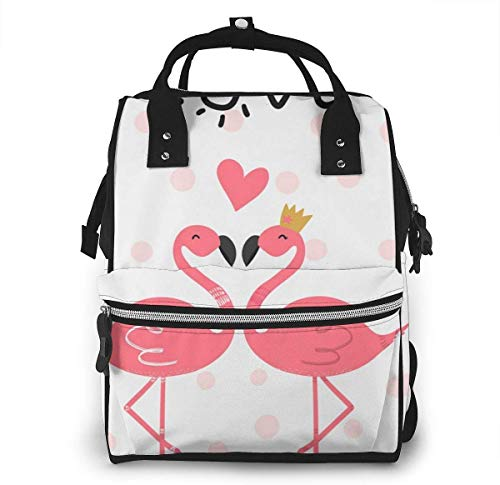 UUwant Sac à Dos à Couches pour Maman Large Capacity Diaper Backpack Travel Manager Baby Care Replacement Bag Nappy Bags Mummy Backpack,(Two Cute Pink Flamingos, One with A Crown