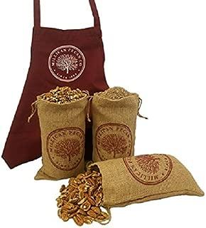Pecan Baker's Special - 3 lbs each Pecan Halves, Pecan Pieces & Pecan Meal in Burlap Bags plus Premium Apron | Millican Pecan since 1888