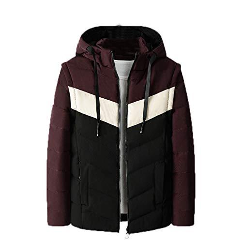 Aiserkly - Chaqueta de invierno para hombre, tamaño mediano, ligera, talla grande, acolchada, de algodón, con capucha, color negro y rojo Negro Negro XXL