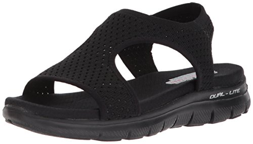 Skechers Cali Women's Flex Appeal 2.0-Deja Vu Sport Sandal,black/black,7 M US