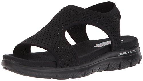 Skechers Cali Women's Flex Appeal 2.0-Deja Vu Sport Sandal,black/black,9 M US