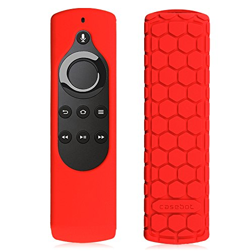Fintie Silicone Case for 2nd Gen Fire TV Stick with 1st Gen Alexa Voice Remote, Compatible with Echo/Echo Dot Alexa Voice Remote - Honey Comb Series [Anti Slip] Shockproof Cover, Red