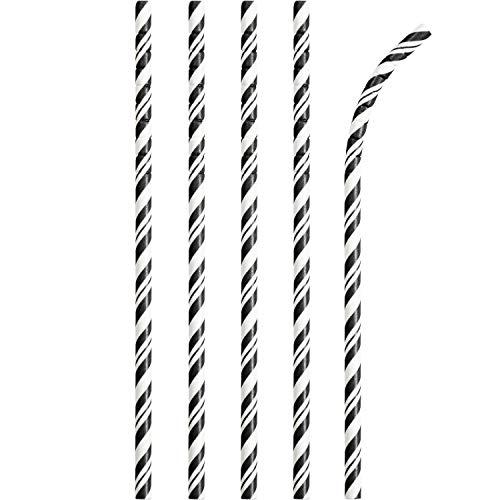 Creative Converting Black Striped Eco-Flex Bendable Paper Straws-24 Pcs Pajitas de Papel Flexibles, a Rayas, Color, 24 Unidades, negro/blanco
