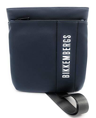 Bikkembergs Bandolera de hombre tejido engomado Flat Crossover bag con cremallera frontal azul Bolso de hombre Casual Colección 2021