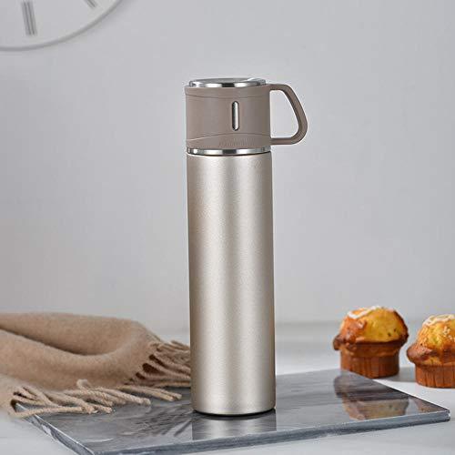 Jusemao Botella de agua portátil de acero inoxidable de gran capacidad para deportes al aire libre botella de agua 600ml-Golden_600ml