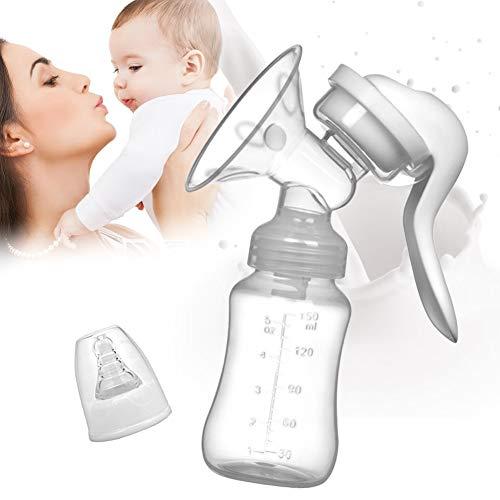 Handmilchpumpe, Brustpumpen, Manuelle Milchpumpe, Handpumpe, Komfortable und kompakte Silikonmilchpum für effizientes, schonendes Abpumpen, Handpumpe für Muttermilch, mit Milchflasche 150 ml