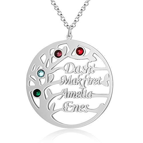 KAULULU Collar Personalizado Mujer del árbol de Vida Pendientes 925 Plata con 2 a 4 Nombres de Familia Piedra Joyería Regalos de Cumpleaños Personalizados para Mujer Mama BFF (Silver, 4 Name)