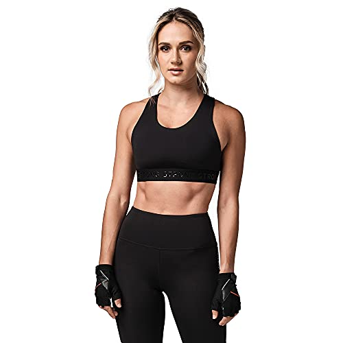 STRONG by Zumba Strong ID Active Fitness Women Sports Bra Activewear High Impact Workout Tops, Black Jacquard, XS Women's